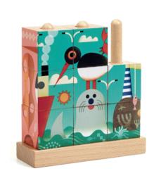 DJECO  houten blokken puzzel - Puzz-Up Sea 3 jr. +