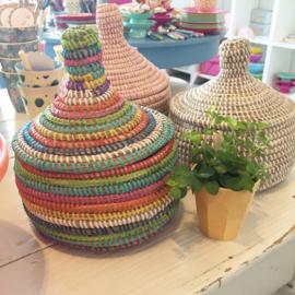 Afrikaans mandje met deksel - gekleurd