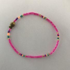 Loffs armband Tiny met vis - neonroze