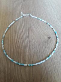 Ketting - random bead - gold/ blue