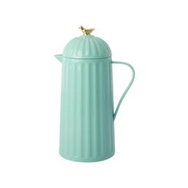RICE thermoskan - Mint groen met gouden vogeltje (nieuwe collectie Let's Summer 2020)