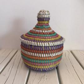 Afrikaans bijoux mandje klein met deksel - gekleurd