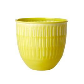 RICE metalen bloempot - geel - large (nieuwe collectie 'Choose Happy' 2021)