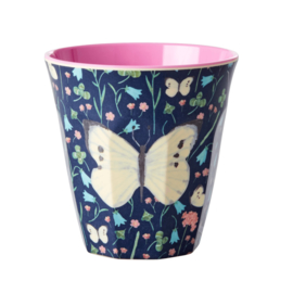 RICE beker - Sweet Butterfly print - midnight blue (HW21 collectie)