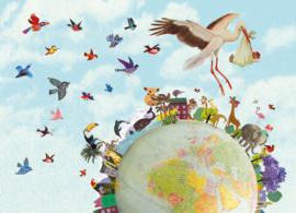 Grootzus ansichtkaart Wereld rond Ooievaar
