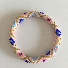 Loffs armband - blauw/ roze/ goud
