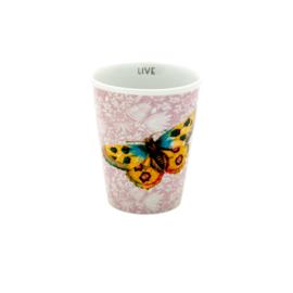 RICE beker porselein - Dusty Rose Fern & Flower and Butterfly print