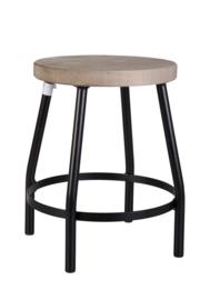 Kitchen Trend metalen krukje met houten zitting 31cm hoog - zwart