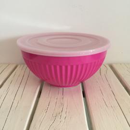 RICE melamine schaal met plastic deksel fuchsia roze - maat M