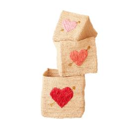 RICE vierkant mandje met hart - maat L