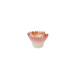 RICE glazen bloem kandelaar - wit/ oranje-rood