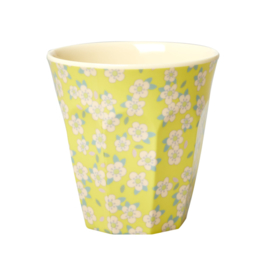 RICE beker - Small Flower print - geel