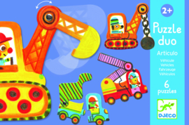 DJECO Puzzel duo - voertuigen  (6 x 2 stukjes) 2 jr. +