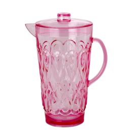 RICE kan met deksel - doorzichtig acryl - roze