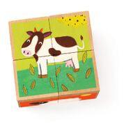DJECO  4 houten blokken puzzel - Meuh & co 2 jr. +