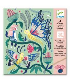 DJECO 4 pastel kraskaarten Fantasy Garden  6 jr. +