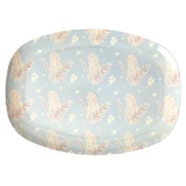 RICE melamine groot bord - Feather print
