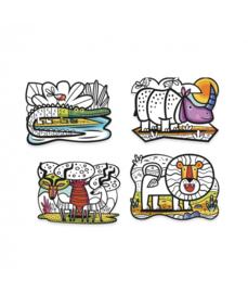 DJECO fluwelen kleurplaten animals of the savannah 3 jr. +