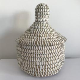 Afrikaans mandje met deksel - wit