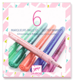 DJECO Colours - 6 glitter markers sweet - 6 jr.+