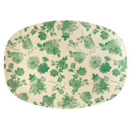 RICE melamine groot bord - Green Rose print (nieuwe collectie 'Let's summer' 2020)