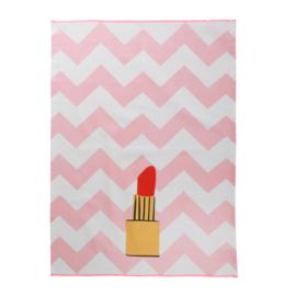 RICE theedoek met neon randje - Zig Zag and Lipstick print