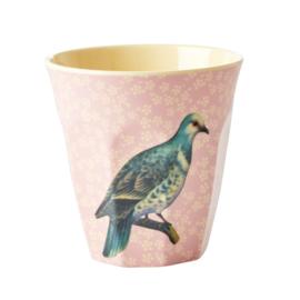 RICE beker - Vintage bird print - Soft Pink