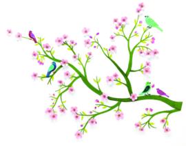 DJECO muursticker - tak met bloemen & vogels - met 3D effect