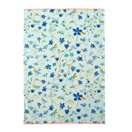 RICE theedoek met neon randje - Blue Floral print