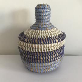 Afrikaans bijoux mandje klein met deksel - blauw/ wit