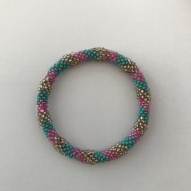 Loffs armband - turquoise/ roze/ goud