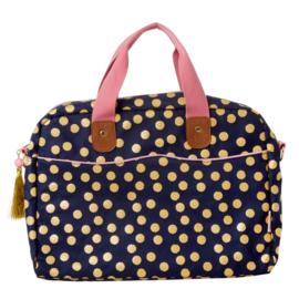 RICE laptop tas (15 inch) - donkerblauw met gouden stippen