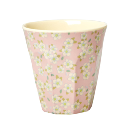 RICE beker - Small Flower print - roze