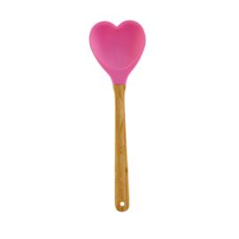 RICE Spatel in hartvorm - donkerroze