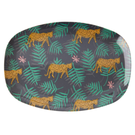 RICE melamine groot bord - Leopard and Leaves  print