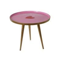 RICE metalen tafel rond - roze met rood hart ( nieuwe collectie 'Follow the Call of the Disco Ball' 2021)
