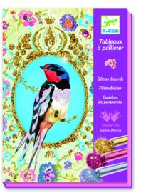 DJECO doos om 4 glitter vogel schilderijen te maken  7 jr. +