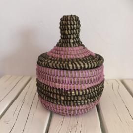 Afrikaans bijoux mandje klein met deksel - zwart/ roze