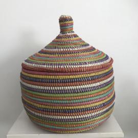 Afrikaanse tajine mand met deksel - gekleurd - maat S