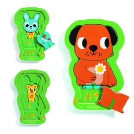DJECO houten puzzel 3 lagen Charly & Co   18 mnd. +