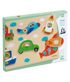 DJECO  houten puzzel Coucou-vroum 18 mnd. +