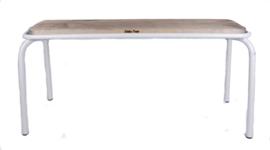 Kitchen Trend metalen bank met houten zitting 100cm - mat wit