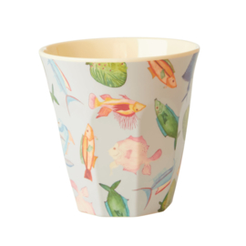 RICE beker - Fish print  (nieuwe collectie 'Choose Happy' 2021)