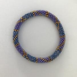 Loffs armband - paarsblauw/ goud