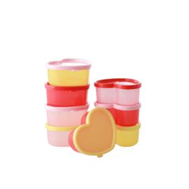 RICE Food Boxes hartvorm in gemixte kleuren - 8 stuks in netje