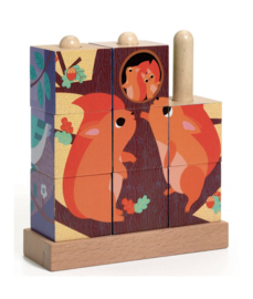 DJECO  houten blokkel puzzen - Puzz-Up Forest 3 jr. +