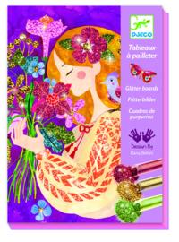 DJECO doos om 4 glitter bloemen schilderijen te maken 7 jr. +
