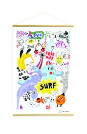 Papieren poster 40 x 60 cm met houten latjes - thema surf's party