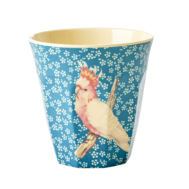 RICE beker - Vintage bird print - Blue