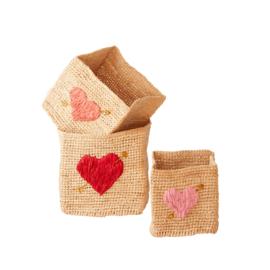 RICE vierkante mandjes met hart - set van 3  (nieuwe collectie 'Choose Happy' 2021)